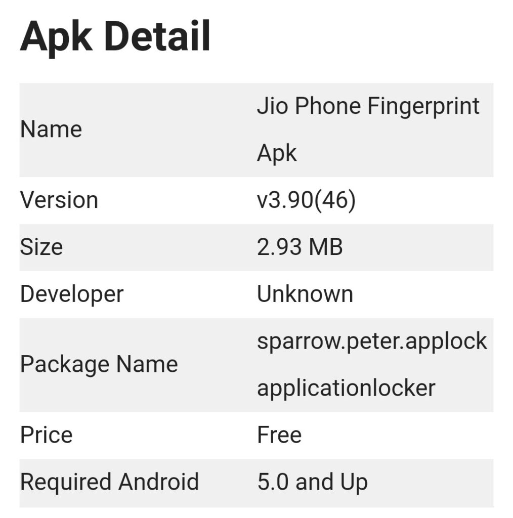 jio phone fingerprint apk 2021